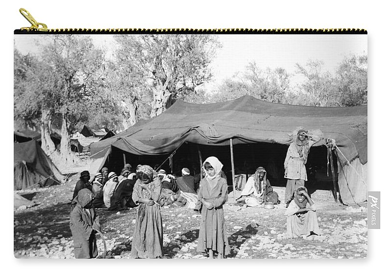 1890 Carry-all Pouch featuring the photograph Gyspy Encampment, C1900 by Granger