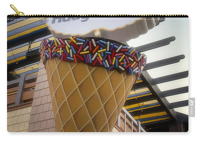 Disney Carry-all Pouch featuring the photograph Haagen Dazs Ice Cream Signage Downtown Disneyland 01 by Thomas Woolworth