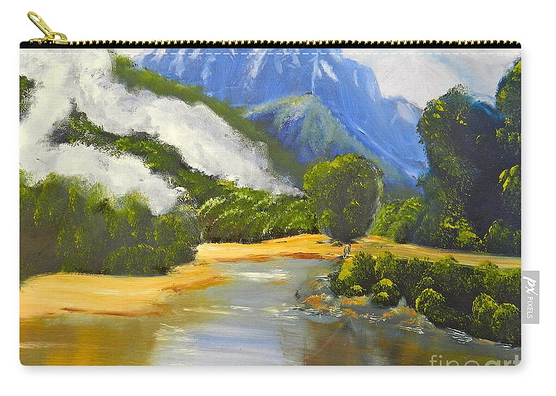 Impressionism Carry-all Pouch featuring the painting Haast River New Zealand by Pamela Meredith