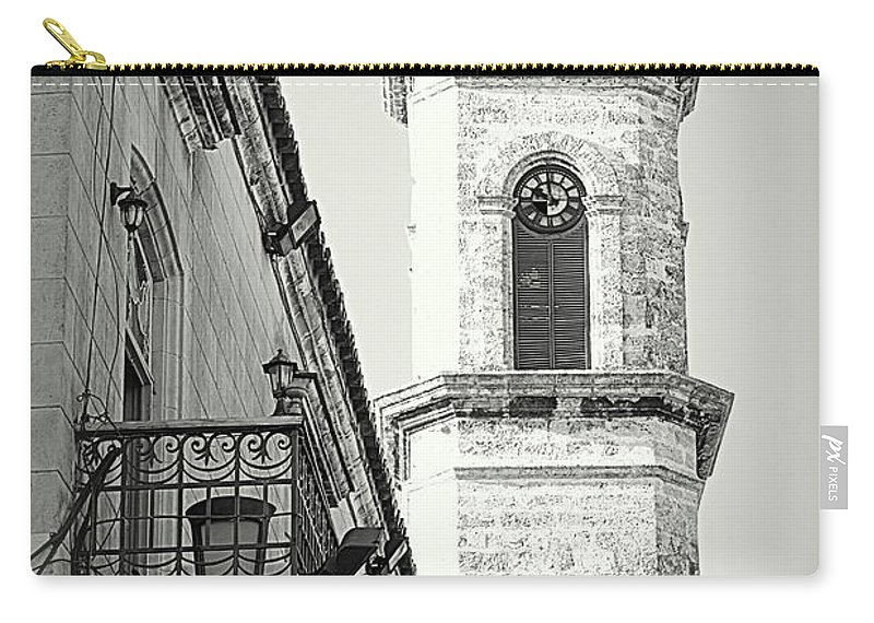 Clock Carry-all Pouch featuring the photograph Habana Clock Tower by Valentino Visentini