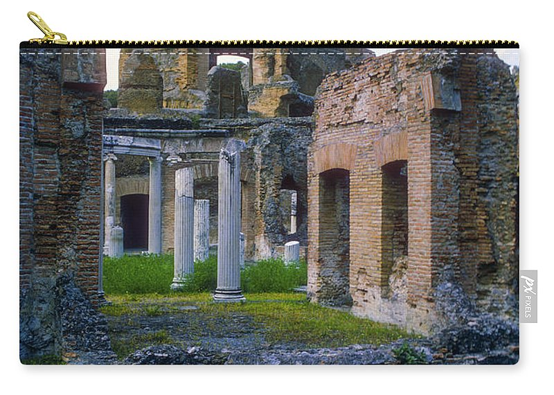 Hadrian Villa Ruin Ruins Pond Ponds Reflection Reflections Water Structure Structures Building Building Column Columns Architecture Hadrian's Villa Roman Architecture Cityscape Cityscapes Tivoli Italy City Cities Cityscape Cityscapes Carry-all Pouch featuring the photograph Hadrian's Villa by Bob Phillips