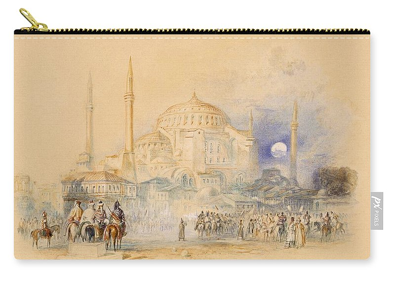 Hagia Sophia Carry-all Pouch featuring the drawing Hagia Sofia by Joseph Mallord William Turner
