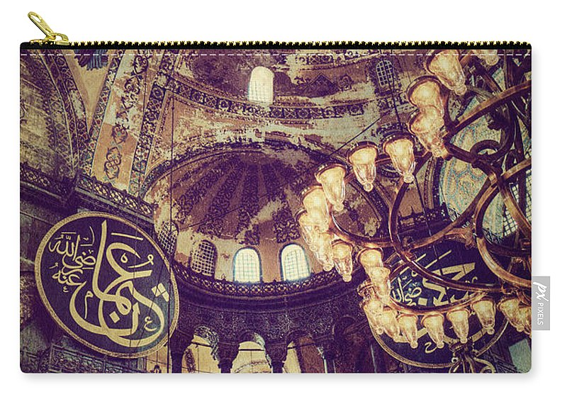 Hagia Sophia Carry-all Pouch featuring the photograph Hagia Sophia Lighting by Emily Kay