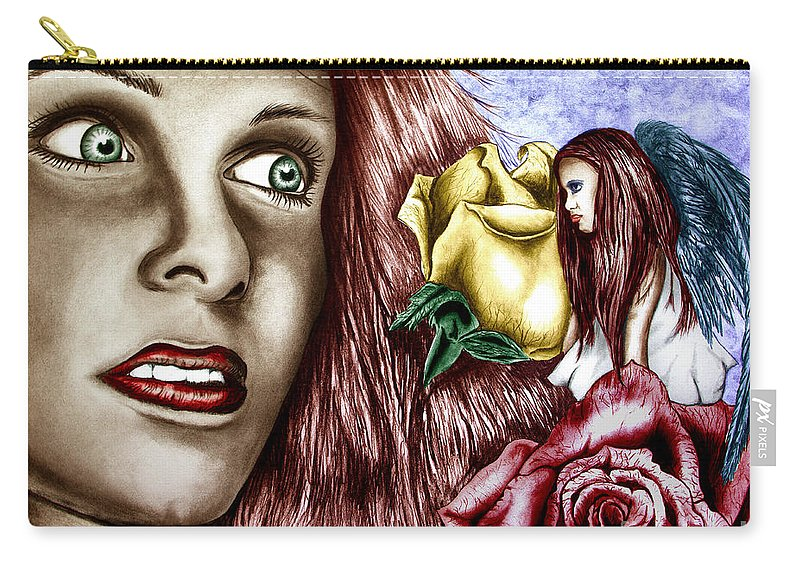 Haleys Apparition Carry-all Pouch featuring the drawing Haleys Apparition Colored by Peter Piatt