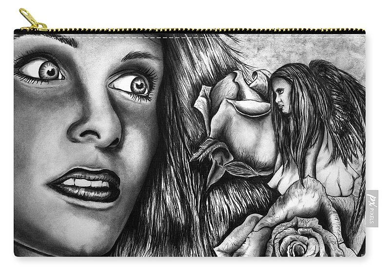 Haleys Apparition Carry-all Pouch featuring the drawing Haleys Apparition by Peter Piatt