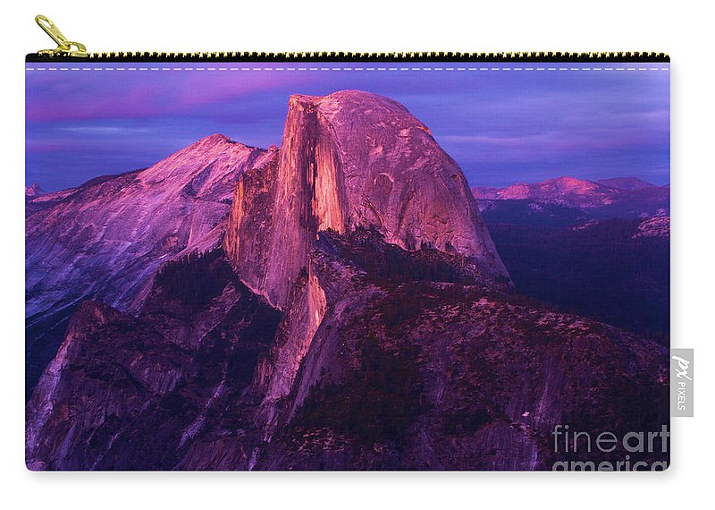 Half Dome Carry-all Pouch featuring the photograph Half Dome Glow by Adam Jewell