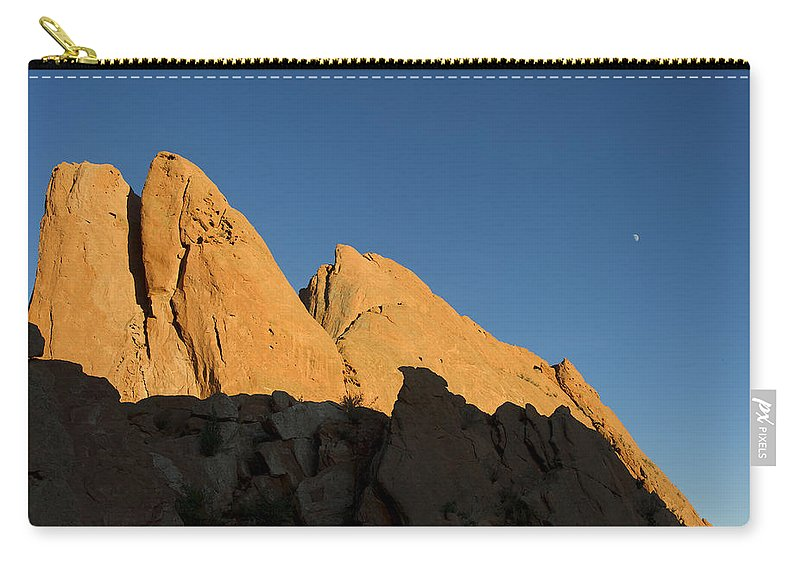Half Carry-all Pouch featuring the photograph Half Moon At Garden Of The Gods by Gary Langley