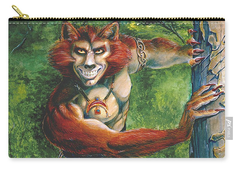 Red Headed Werewolf Carry-all Pouch featuring the painting Half Wolf Werewolf by Melissa A Benson