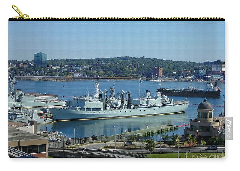 Ships Carry-all Pouch featuring the photograph Halifax Harbor Shipping by John Malone