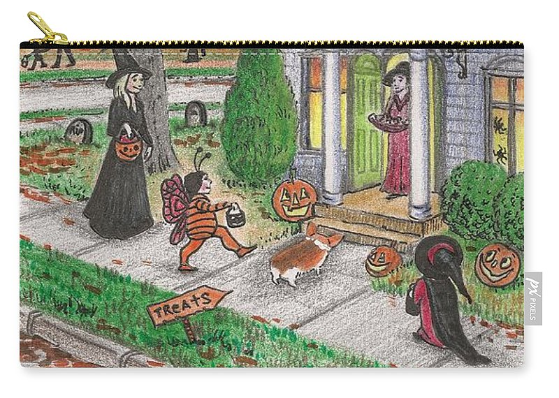 Print Carry-all Pouch featuring the painting Halloween Memories by Margaryta Yermolayeva