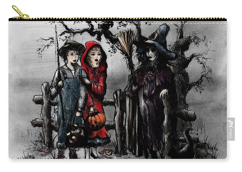 Halloween Carry-all Pouch featuring the drawing Halloween Night by Rachel Christine Nowicki