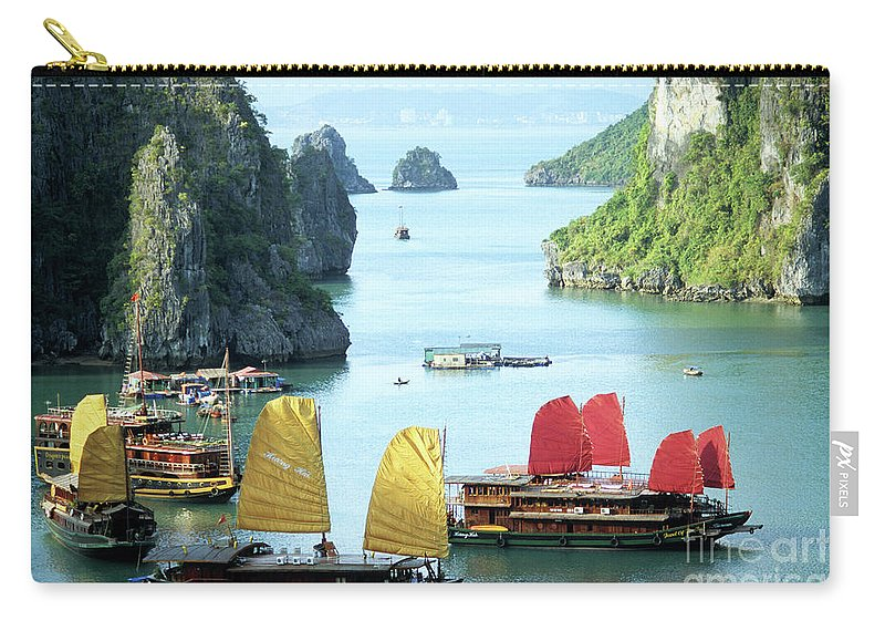 Vietnam Carry-all Pouch featuring the photograph Halong Bay Sails 01 by Rick Piper Photography