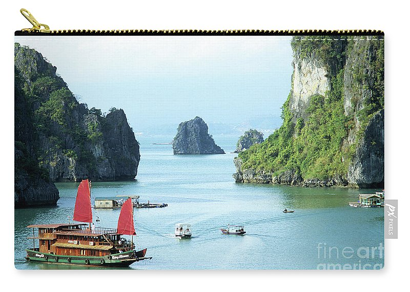 Vietnam Carry-all Pouch featuring the photograph Halong Bay Sails 03 by Rick Piper Photography
