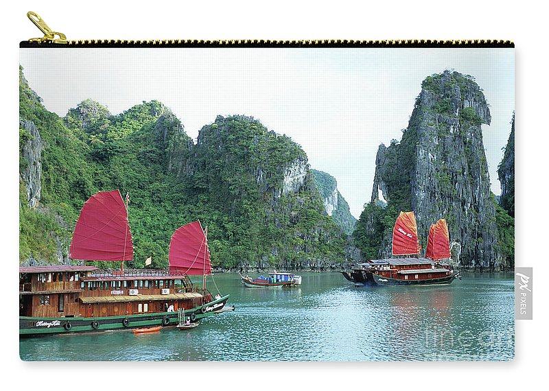 Vietnam Carry-all Pouch featuring the photograph Halong Bay Sails 04 by Rick Piper Photography