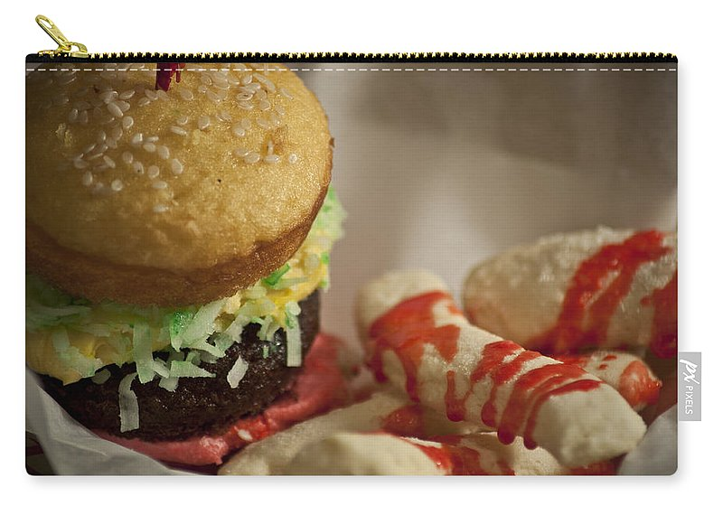 Food Art Carry-all Pouch featuring the photograph Hamburger N Fries by Deborah Klubertanz