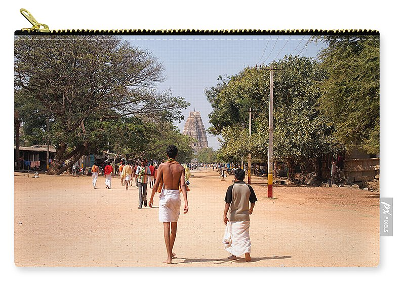 Ancient Buildings Carry-all Pouch featuring the digital art Hampi Bazzar Street Scenes by Carol Ailles
