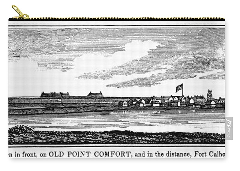 1856 Carry-all Pouch featuring the painting Hampton, Virginia Forts by Granger