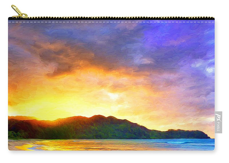 Hanalei Bay Carry-all Pouch featuring the painting Hanalei Sunset by Dominic Piperata