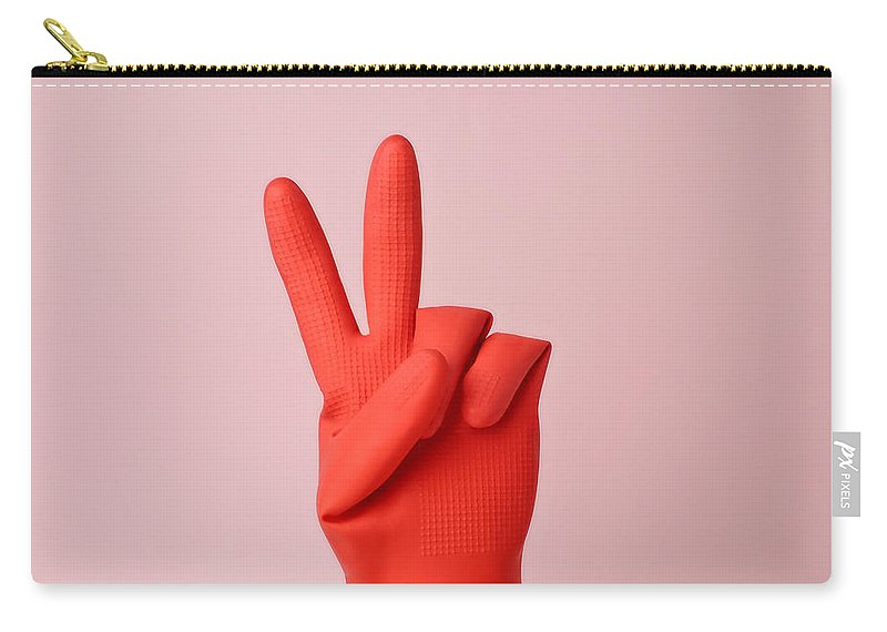 Washing Up Glove Carry-all Pouch featuring the photograph Hand In Red Rubber Glove Making Peace by Juj Winn