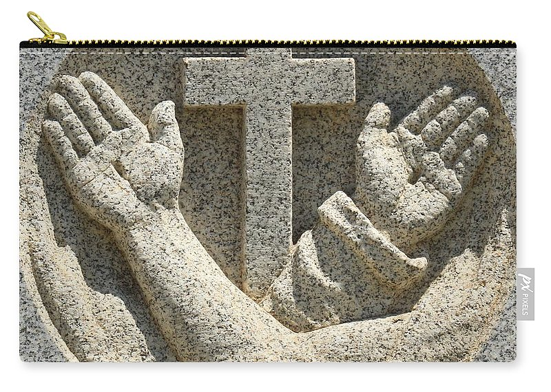 Stone Cross Carry-all Pouch featuring the photograph Hands And The Cross by Adam Jewell