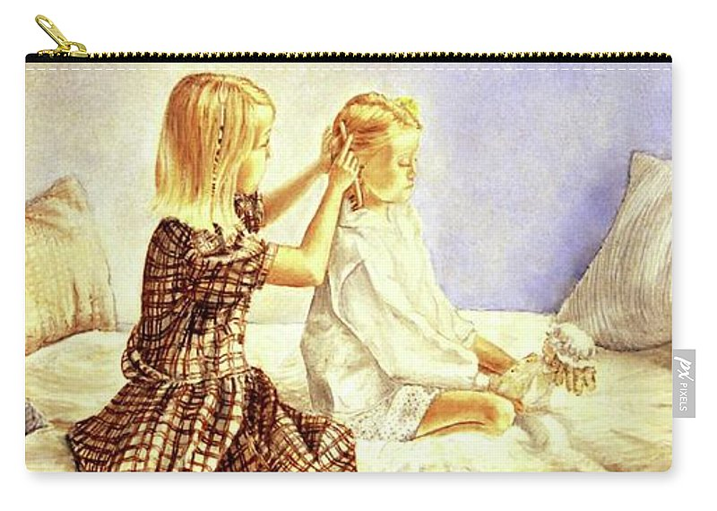 Animals Carry-all Pouch featuring the painting Hands Of Devotion - Childhood by Linda Simon