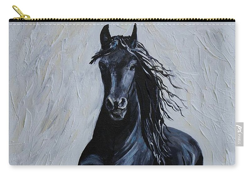 Horse Painting Carry-all Pouch featuring the painting Handsome by Leslie Allen