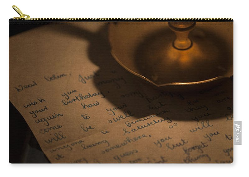 Candle Carry-all Pouch featuring the photograph Handwritten Letter By Candle Light by Lee Avison