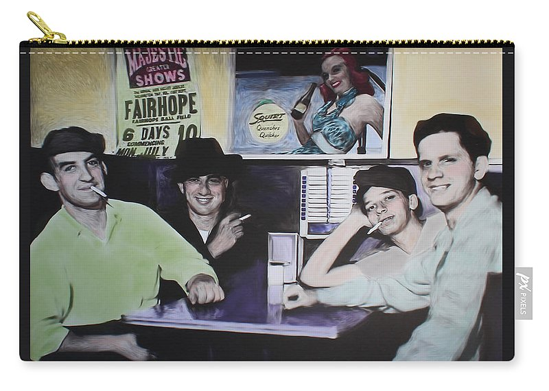 Diner Carry-all Pouch featuring the mixed media Hanging At The Diner 1949 by Deborah Boyd