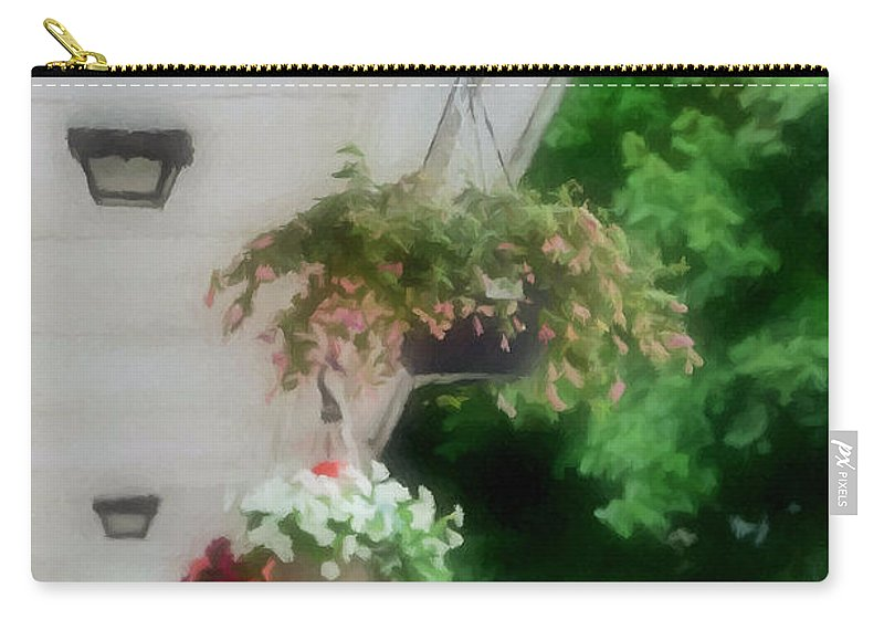 Agricultural Carry-all Pouch featuring the painting Hanging Flower Baskets On A Porch by Jeelan Clark