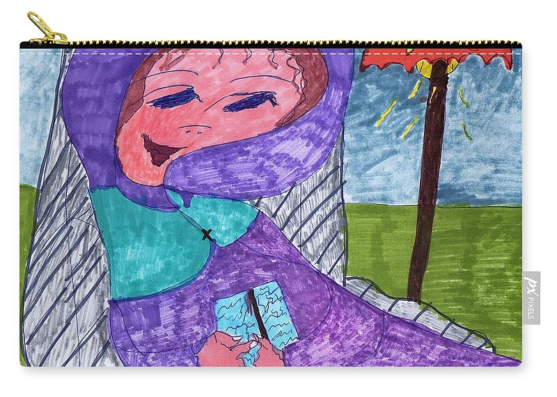 Purple Attire For This Lady Sitting In A Chair. Carry-all Pouch featuring the mixed media Happy And Content by Elinor Helen Rakowski