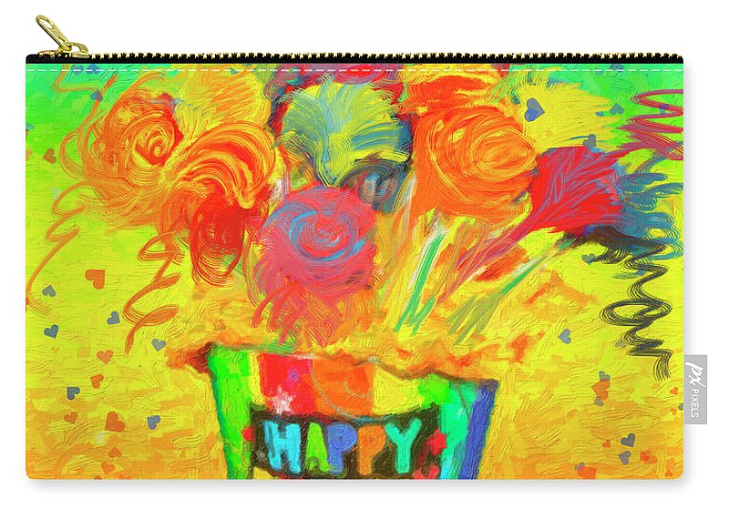 Flower Carry-all Pouch featuring the painting Happy Birthday by Angela Stanton