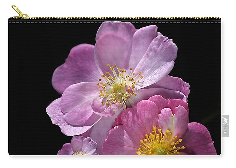 Happy Birthday Carry-all Pouch featuring the photograph Happy Birthday Pink Roses by Joy Watson