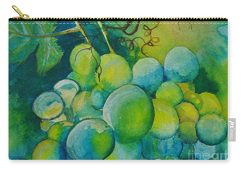 Grapes Carry-all Pouch featuring the painting Happy Bunch by Sally Rice