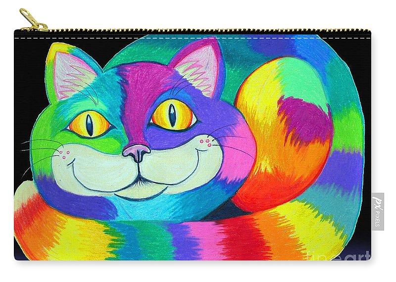 Cat Carry-all Pouch featuring the drawing Happy Cat Dark Back Ground by Nick Gustafson