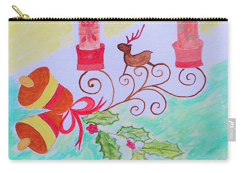 Reindeer Christmas Carry-all Pouch featuring the painting Happy Christmas by Sonali Gangane