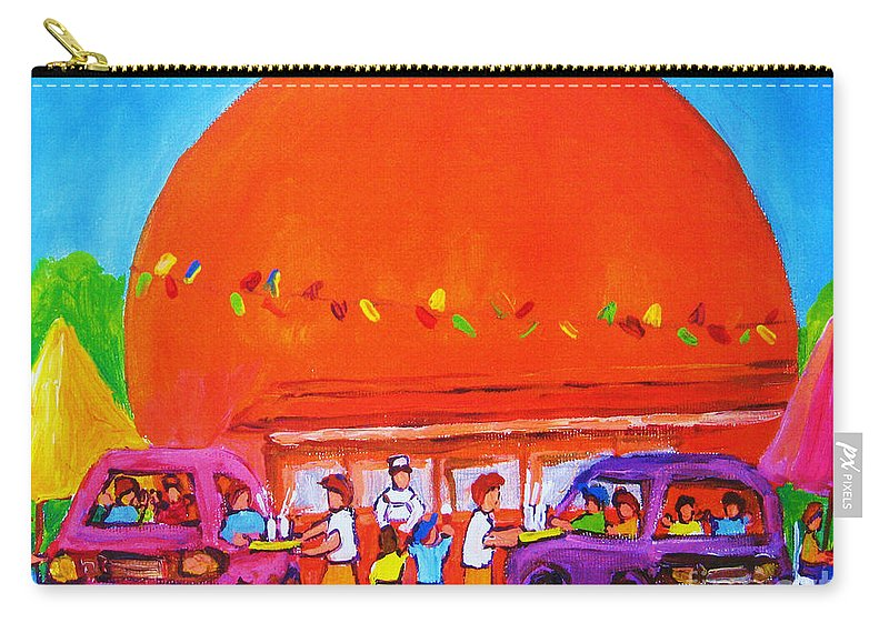 Montreal Carry-all Pouch featuring the painting Happy Days At The Big Orange by Carole Spandau