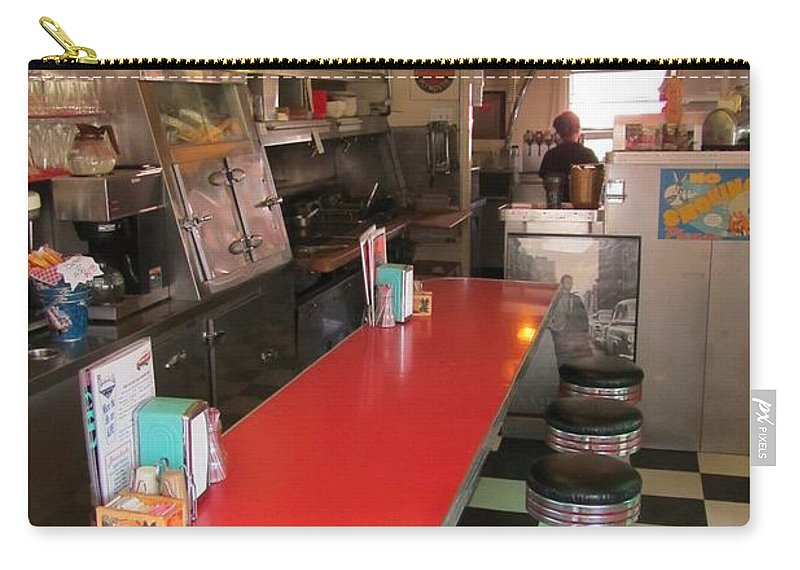Diner Interior Photographs Carry-all Pouch featuring the photograph Happy Days Near Deadwood by John Malone