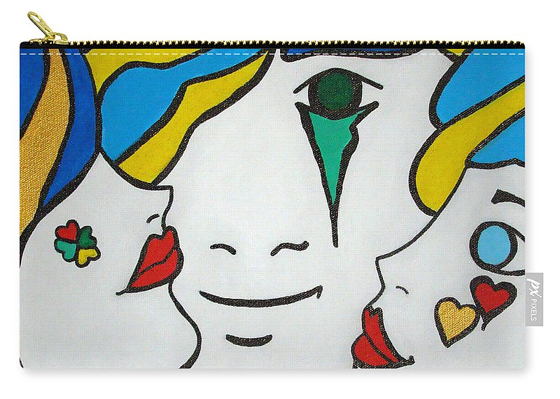 Pop-art Carry-all Pouch featuring the painting Happy Days by Silvana Abel