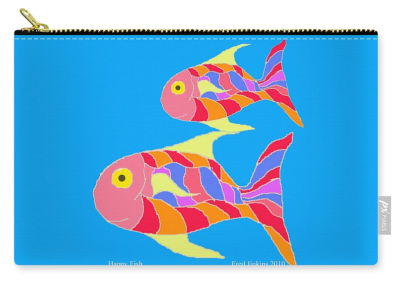 Happy Fish Carry-all Pouch featuring the painting Happy Fish by Fred Jinkins