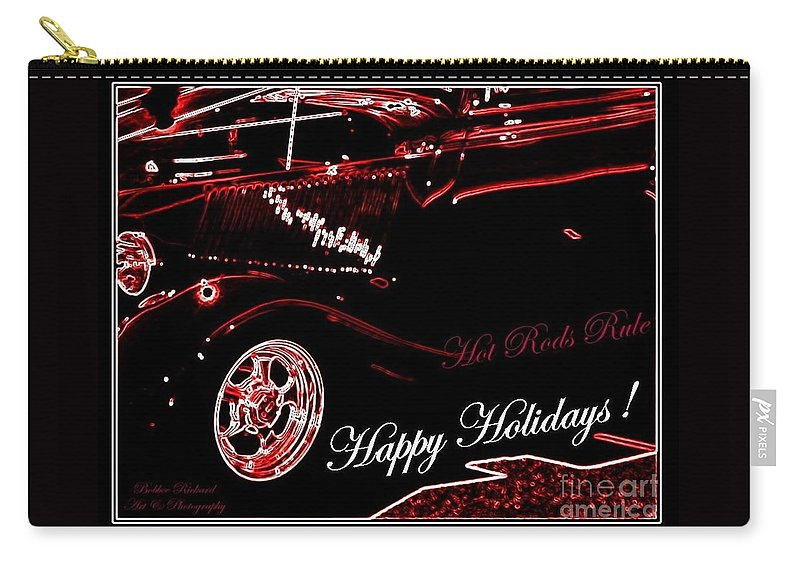 Acrylic Prints Carry-all Pouch featuring the photograph Happy Holidays Hot Rods Rule by Bobbee Rickard