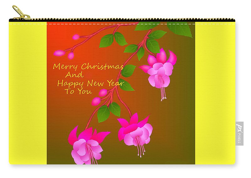 New Year Greeting Card Carry-all Pouch featuring the digital art Happy Holidays by Latha Gokuldas Panicker