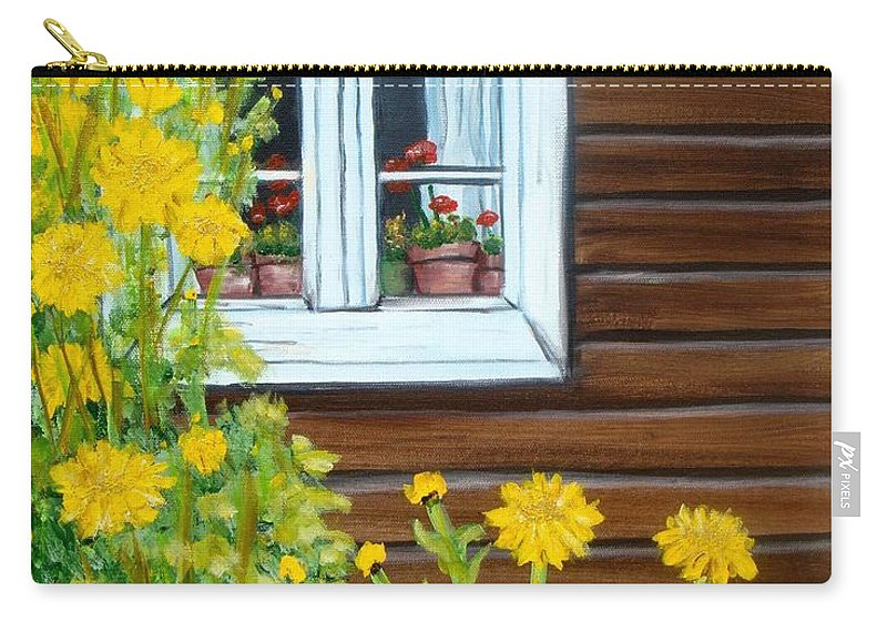 Window Carry-all Pouch featuring the painting Happy Homestead by Laurie Morgan