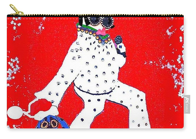 Elvis Carry-all Pouch featuring the mixed media Happy Hunka Holiday Yall by Lizi Beard-Ward