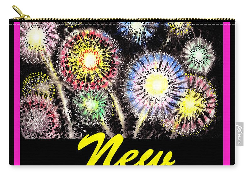 Fireworks Carry-all Pouch featuring the painting Happy New Year by Irina Sztukowski
