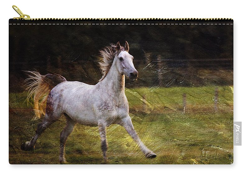 Grey Horse Carry-all Pouch featuring the photograph Happy Run by Angel Ciesniarska