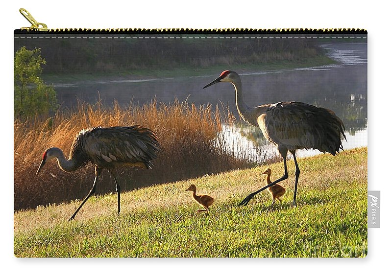 Sandhill Cranes Carry-all Pouch featuring the photograph Happy Sandhill Crane Family by Carol Groenen