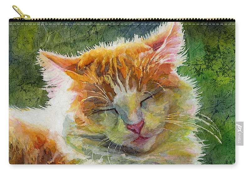 Cat Carry-all Pouch featuring the painting Happy Sunbathing 2 by Hailey E Herrera