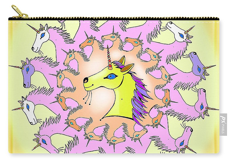 Unicorns Carry-all Pouch featuring the painting Happy Unicorns by Hartmut Jager
