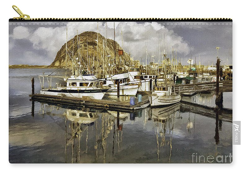Boat Carry-all Pouch featuring the photograph Harbor Reflection Impasto by Sharon Foster