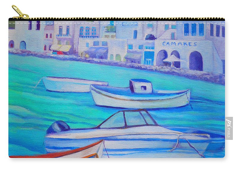 Sea Carry-all Pouch featuring the painting Harborfront Mykonos by Kandy Cross
